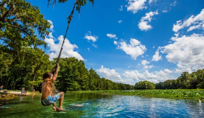 Enjoying the great outdoors on a rope swing over a spring or river in Florida